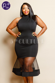 Plus Size Sexy Bodycon Tube Dress With Flared Mesh Trim