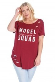 Plus Size Distressed Model Squad Basic Top