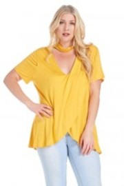 Plus Size Overlap Choker Keyhole Basic Top