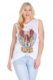 Plus Size Eagle Pride Distressed Knot Tank