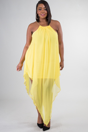 Plus Size Tear Drop Chiffon Sleeveless Dress