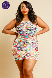 Plus Size Colorful Ramie Knitted Cover Up Beach Mini Dress