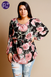 Plus Size Sweet Pink Floral Long Sleeved Blouse