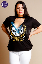 Plus Size Keyhole Eagle Pride Graphic Tee