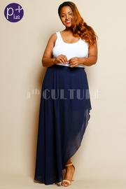 Plus Size Slit Side Pastel Maxi Skirt