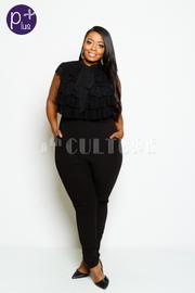 Plus Size Ruffle Mesh Exposed Pocket Jumpsuit