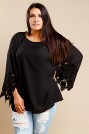 Plus Size Crochet Cuff Bell Sleeved Blouse