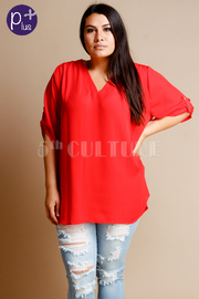 Plus Size V-neck Solid Loose Blouse