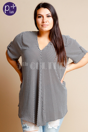 Plus Size V-neck Polka Dot Loose Top