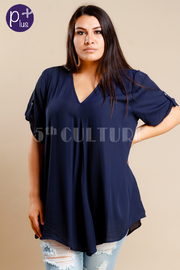 Plus Size V-neck Short Sleeved Solid Blouse