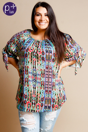 Plus Size Colorful Aztec Short Sleeved Blouse