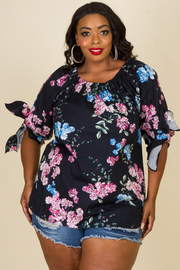 Plus Size Spring Floral Short Sleeved Blouse