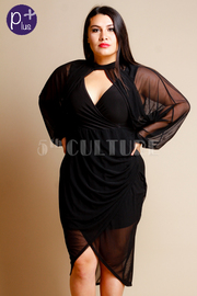 Plus Size Sexy Date Sheer Sleeved Glam Dress