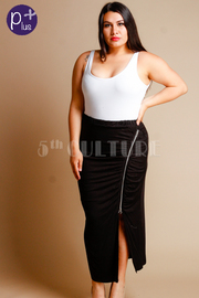 Plus Size Zipper Side Slit Maxi Skirt