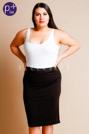 Plus Size Zipper Back Pro Midi Skirt