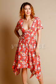 Surplice Floral Flared Unbalanced Dress