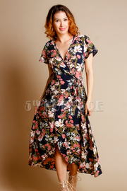 Surplice Floral Short Sleeved Maxi Dress