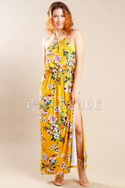 Spring Slit Side Halter Maxi Dress