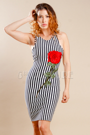 Classy Rose Patch Striped Bodycon Dress