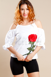 Cute Open Shoulder Rose Patch Top