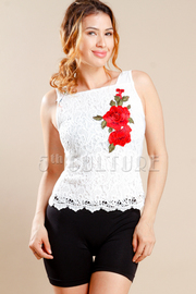 Summer Laced Rose Patch Top