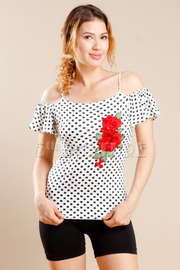 Cold Shoulder Polka Dot Rose Top