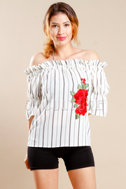 Off Shoulder Striped Chic Rose Patch Top