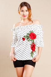 Off Shoulder Classic Polka Dot Rose Patch Side Top