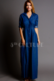 Full Body Button Down Maxi Denim Shirt Dress