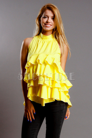 Spring Mandarin Ruffled Layered Top