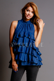 Ruffled Mandarin All Denim Cute Top