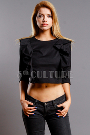 Ruffled Trim Solid Cropped Top