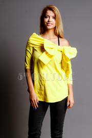 Cute Sassy Bow Side Off Shoulder Bright Shirt