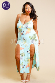 Plus Size Double Slit Tropical Maxi Dress