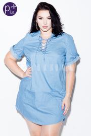 Plus Size Tie Up Denim Tunic Dress