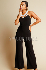 Caged Shimmer Collar Palazzo Halter Jumpsuit