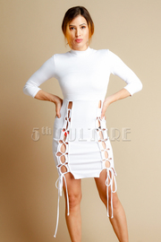 High Neck Tie up Detailed Mini Dress