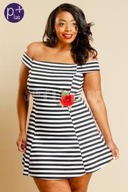 Plus Size Off Shoulder Striped Rose Patch Dress