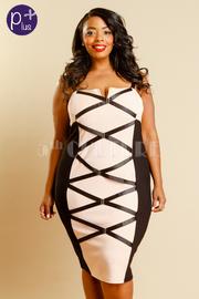 Plus Size Sexy In Cross Straps Midi Tube Dress