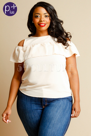 Plus Size Cold Shoulder Ruffle Solid Top