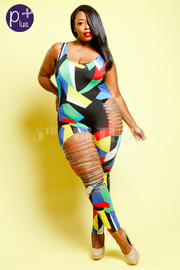 Plus Size Sexy In Colorblock Abstract Sliced Fit Jumpsuit