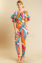 Colorful Abstract Flirty Sleeved unique Jumpsuit
