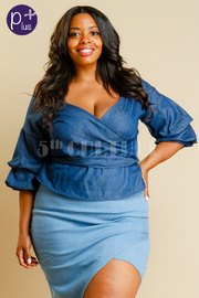 Plus Size Surplice Denim Wrap Tie Top