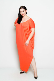 Plus Size Wide Neck Solid Jersey Harem Maxi Dress
