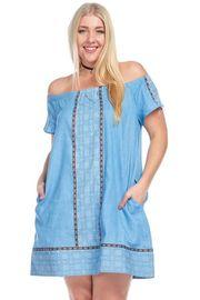 Plus Size Off Shoulder Bohemian Chambray Pocket Dress