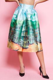 City Printed Skater Silky Skirt