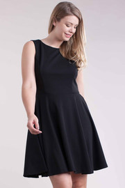 Plus Size Classic Flared Lacey Back Detail Dress