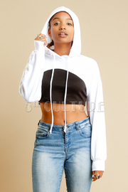 Street Style Cropped Terry Hoodie Top