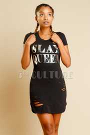 Shiny Slay Queen Distressed Mini Tube Dress