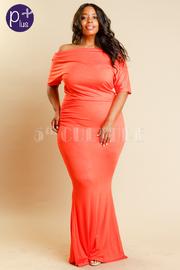 Plus Size Wide Neck Mermaid Maxi Short Sleeved Dress